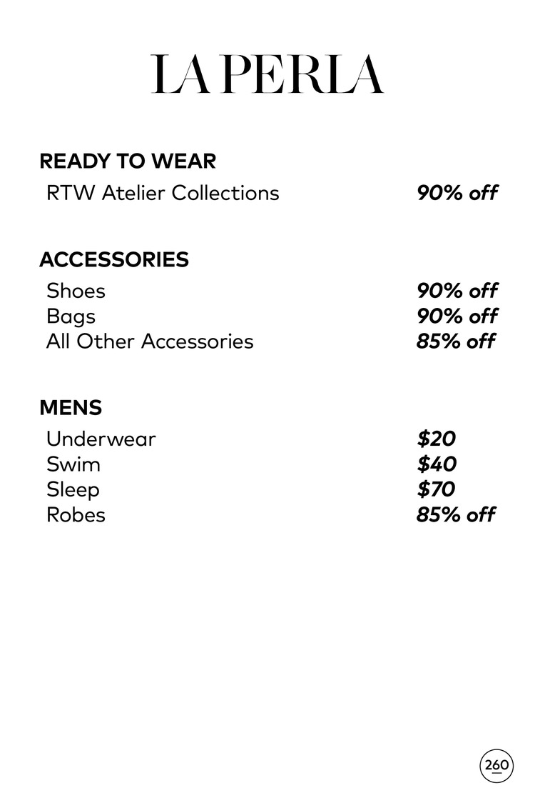 La Perla Sample Sale Price List