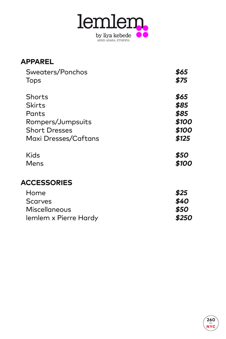 lemlem Sample Sale Price list