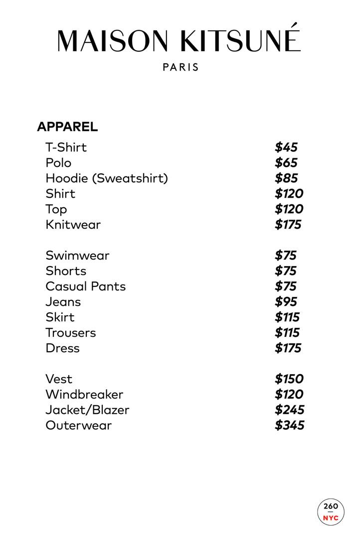 Maison Kitsuné Sample Sale Price List