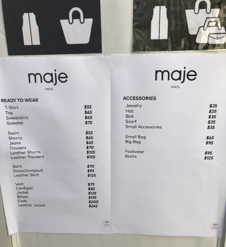 Maje Sample Sale Review Price List
