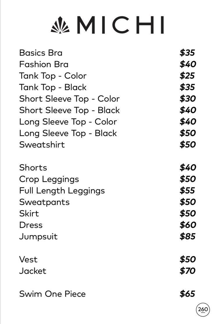 Michi Sample Sale in Images Prices