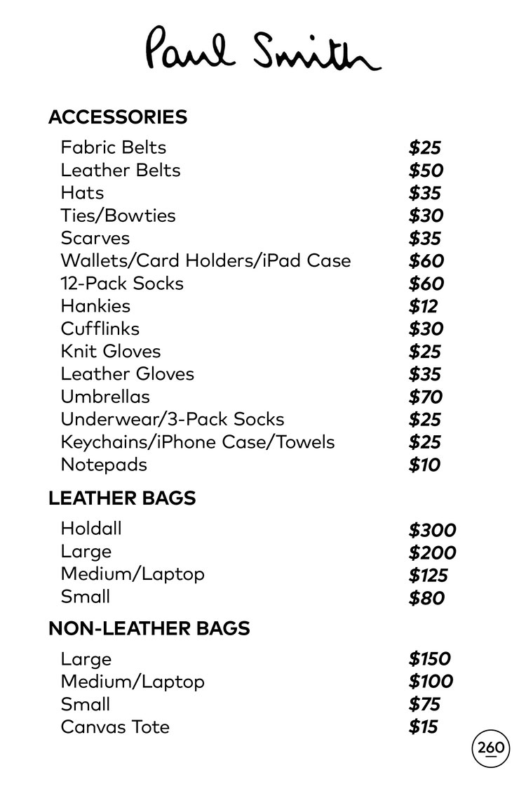 Paul Smith Sample Sale in Images Price List