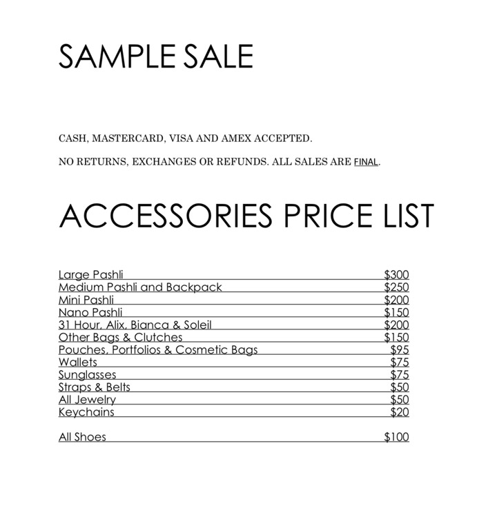3.1 Phillip Lim Sample Sale Accessories Price List