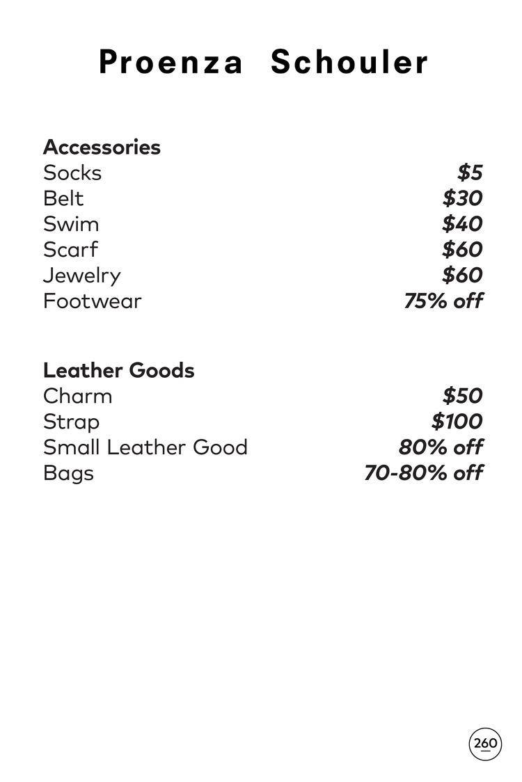 Proenza Schouler Sample Sale Price List