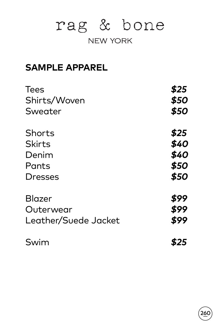 Rag & Bone Sample Sale Apparel Price List