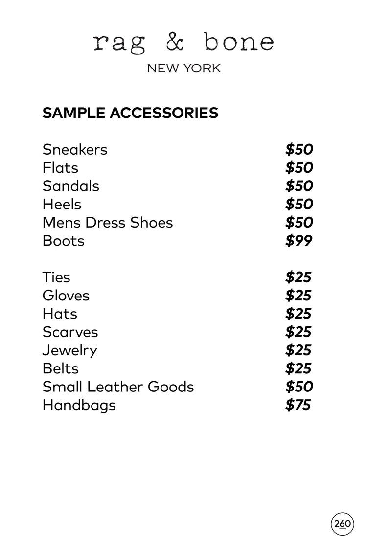 Rag & Bone Sample Sale Accessories Price List