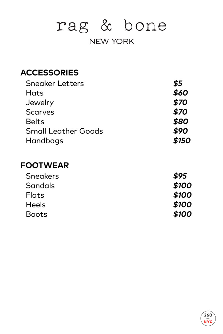Rag & Bone Sample Sale Accessories Price List