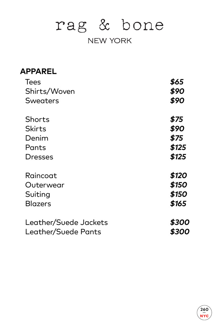 Rag & Bone Sample Sale Apparel Price List