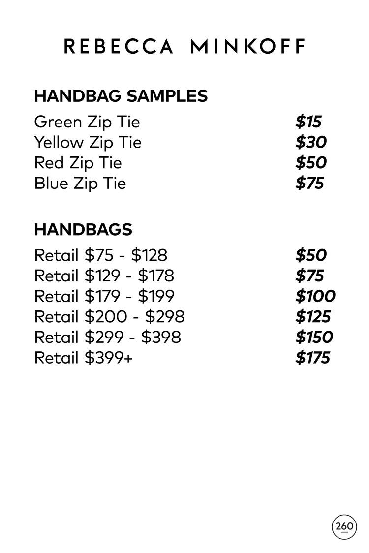 Rebecca Minkoff Sample Sale Handbags Price List