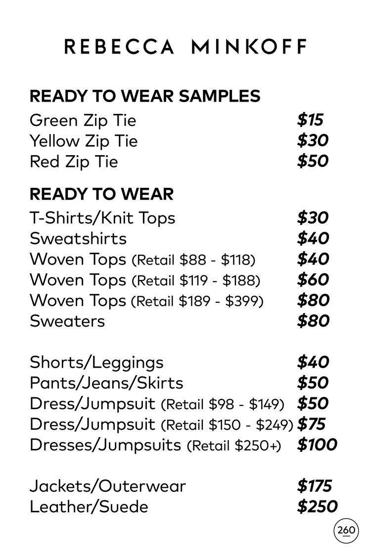 Rebecca Minkoff Sample Sale RTW Price List
