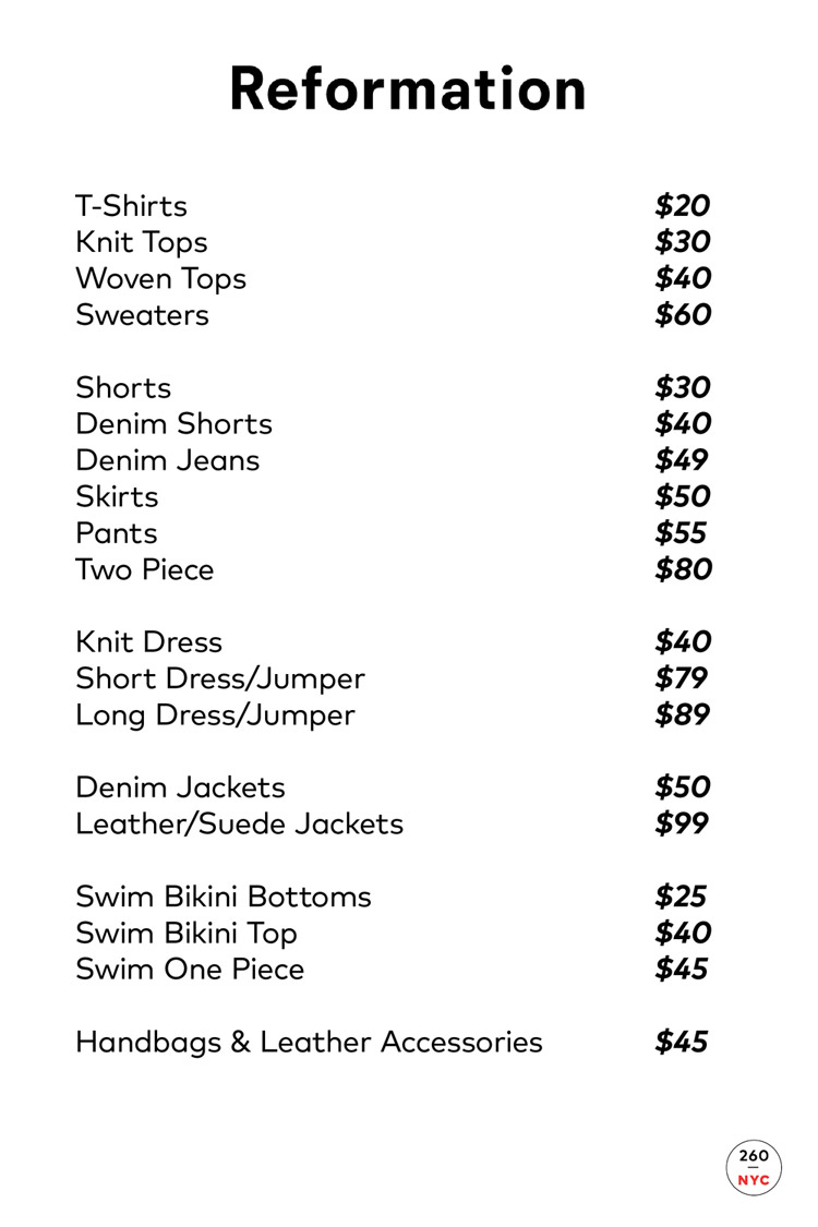 Reformation Sample Sale Price List