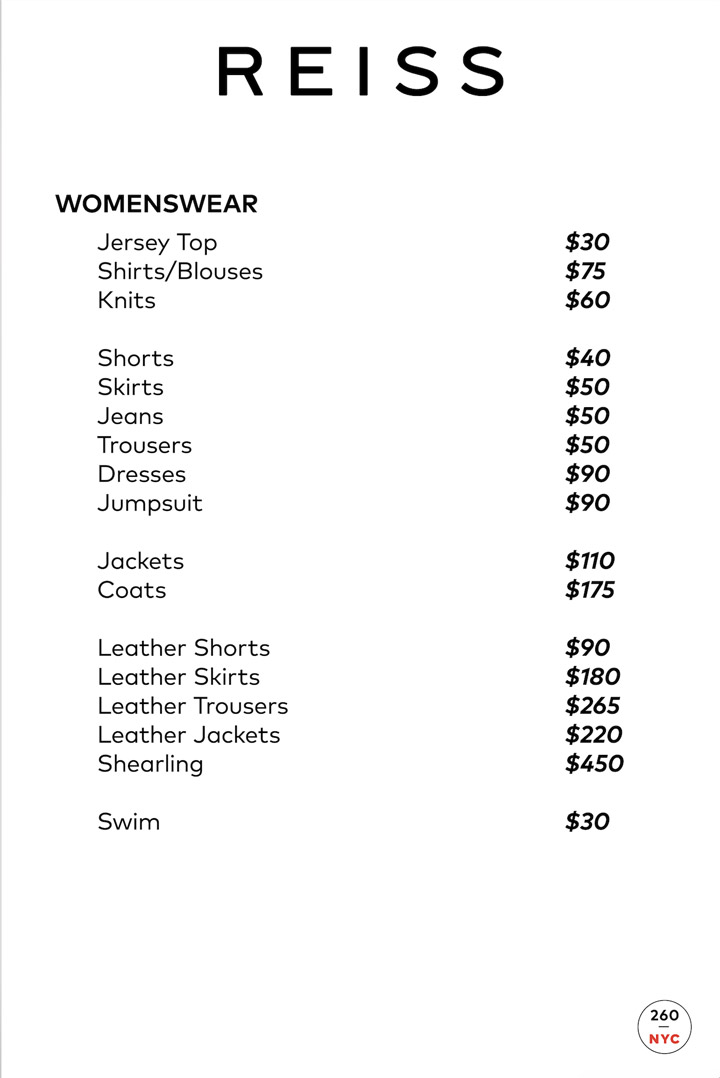 Reiss London Sample Sale Price List
