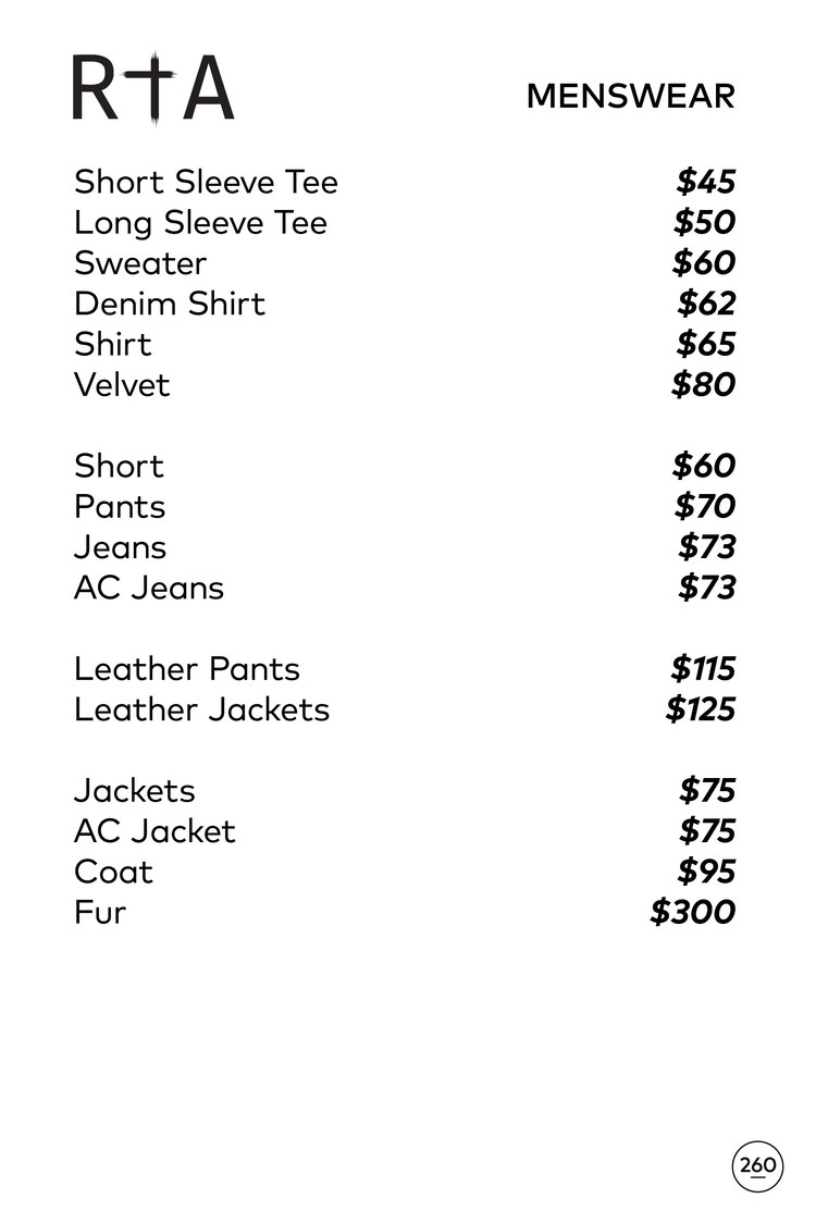 RtA Sample Sale in Images Prices