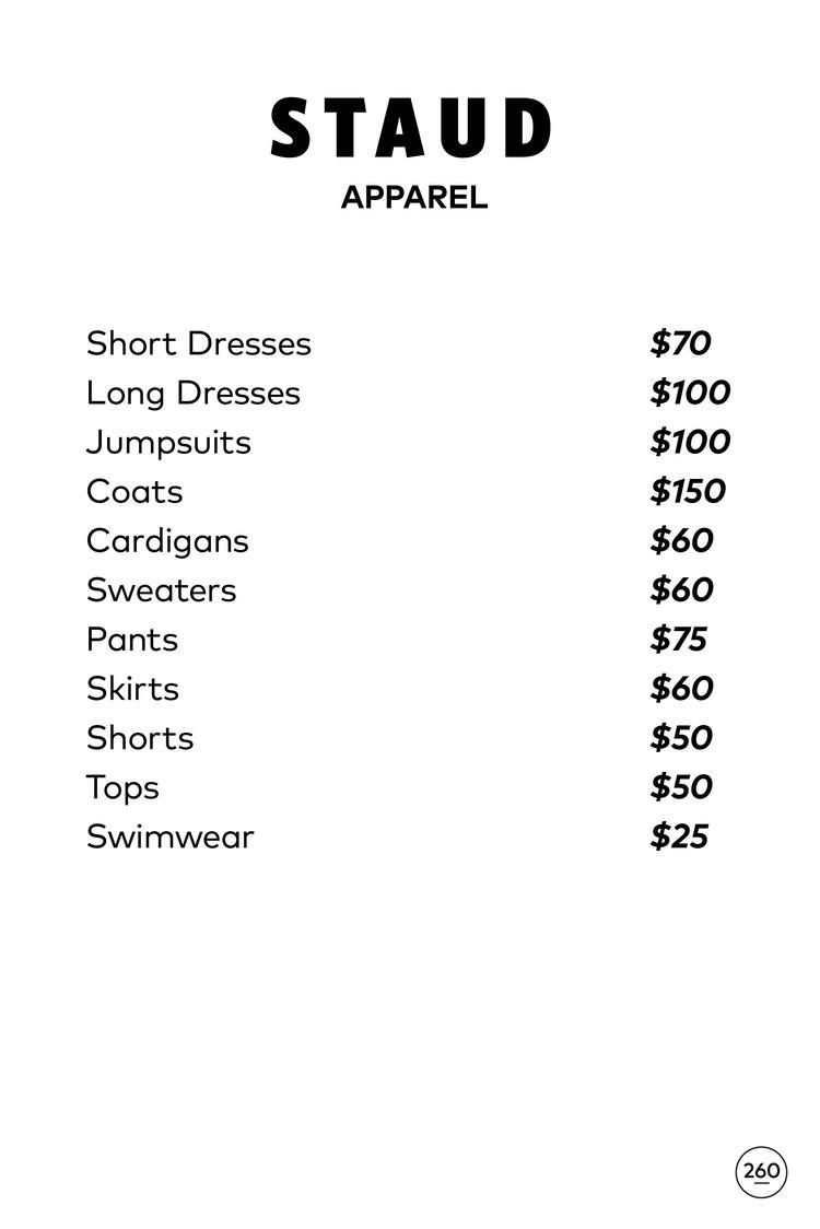 STAUD Sample Sale Price List