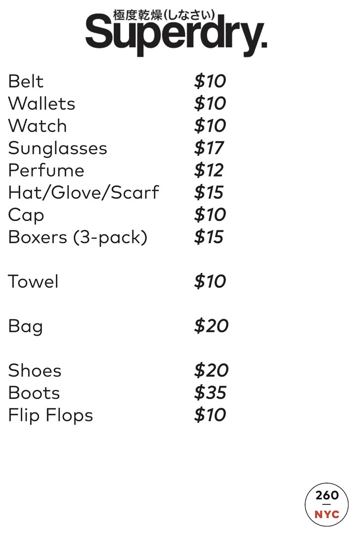 Superdry Sample Sale Accessories Price List