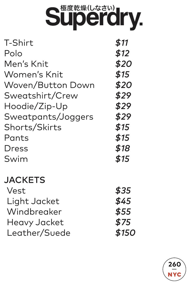 Superdry Sample Sale Apparel Price List