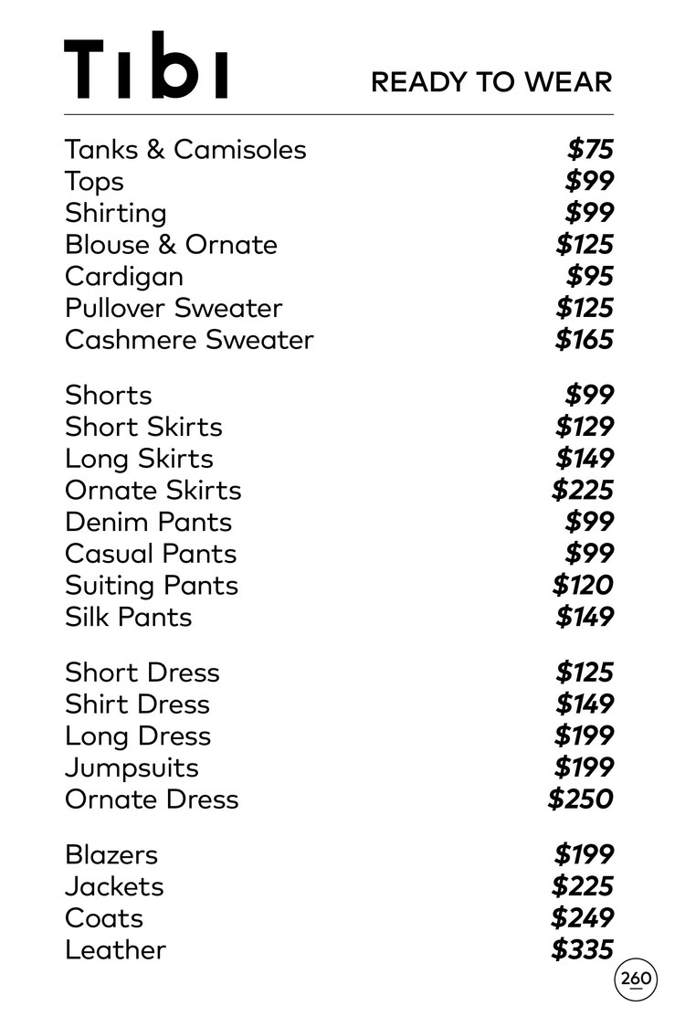 Tibi Sample Sale in Images Price List