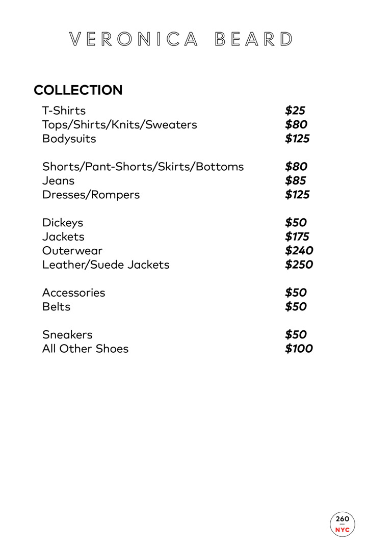 Veronica Beard Sample Sale in Images Price List