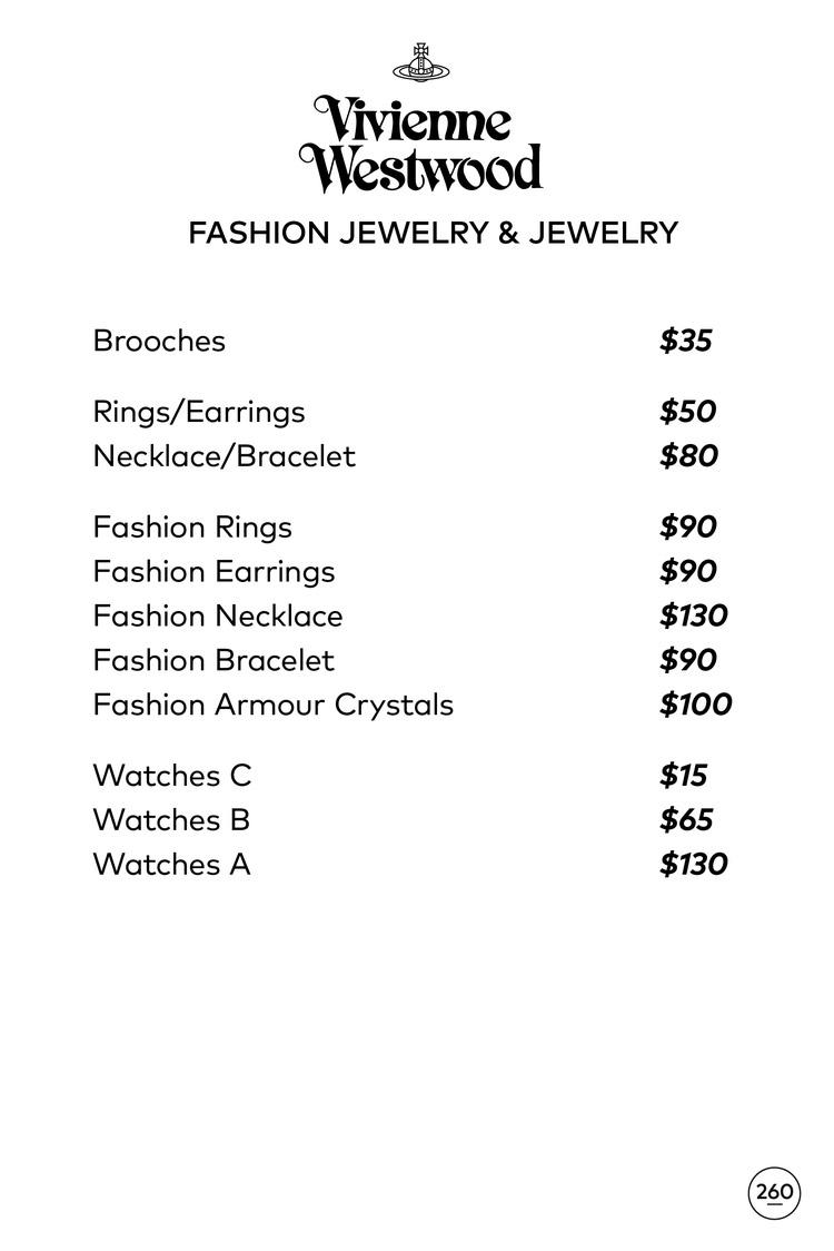 Vivienne Westwood Sample Sale in Images Price List