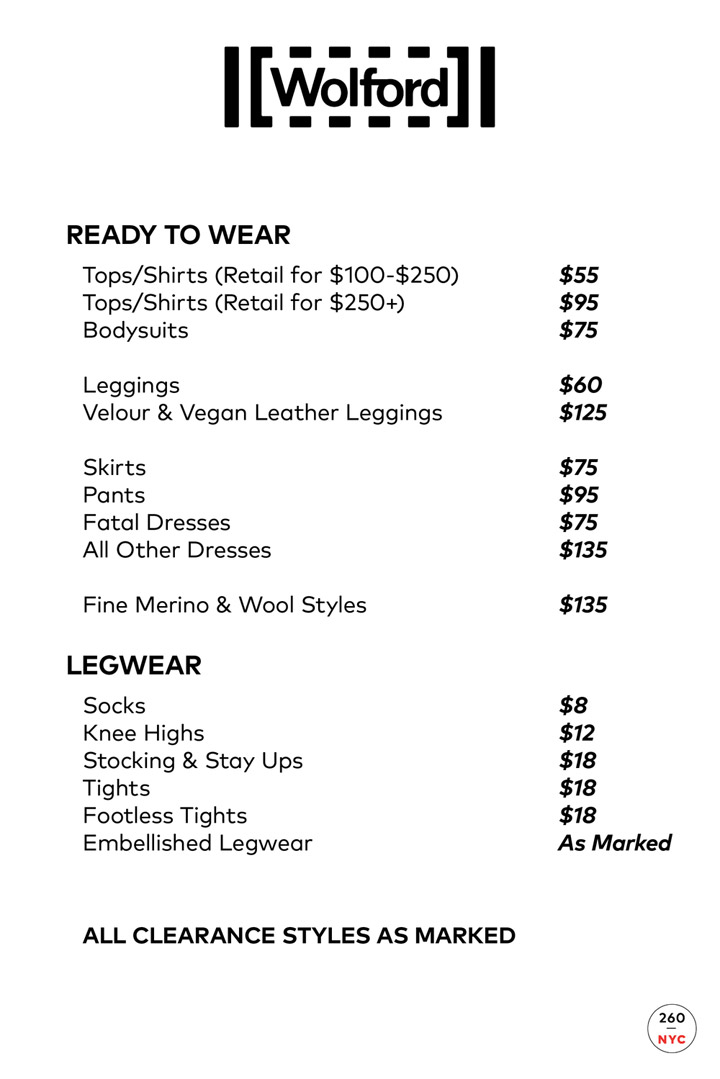 Wolford Sample Sale Price List