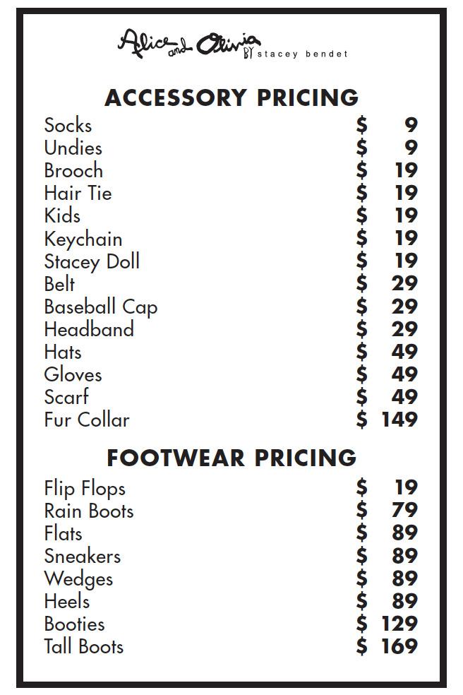 Alice + Olivia Sample Sale Price List