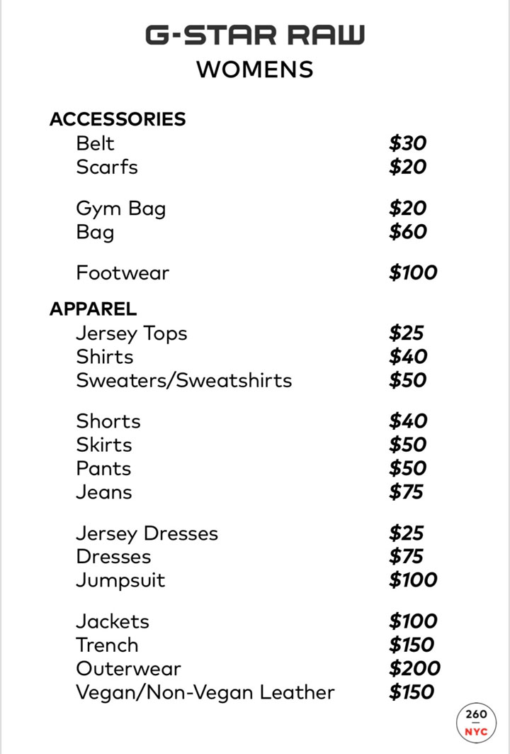 G-Star RAW Sample Sale Womenswear Price List