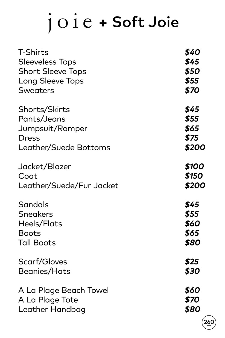 Joie, Equipment, & Current/Elliott in Images Price List