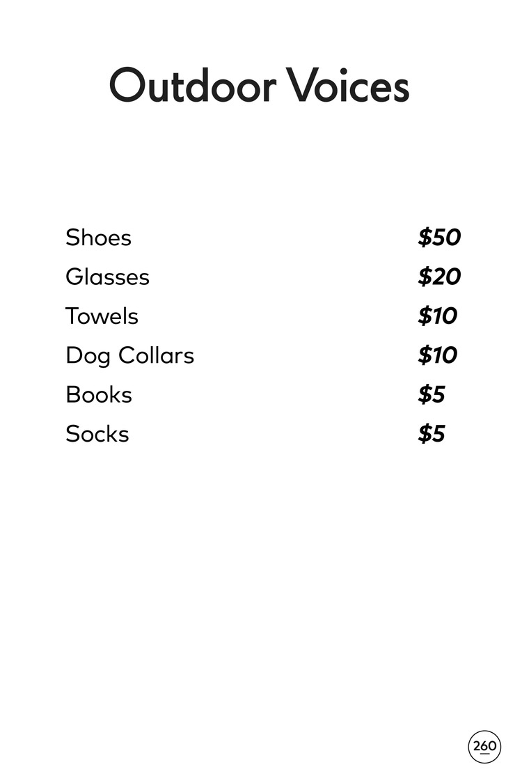 Outdoor Voices Sample Sale Price List
