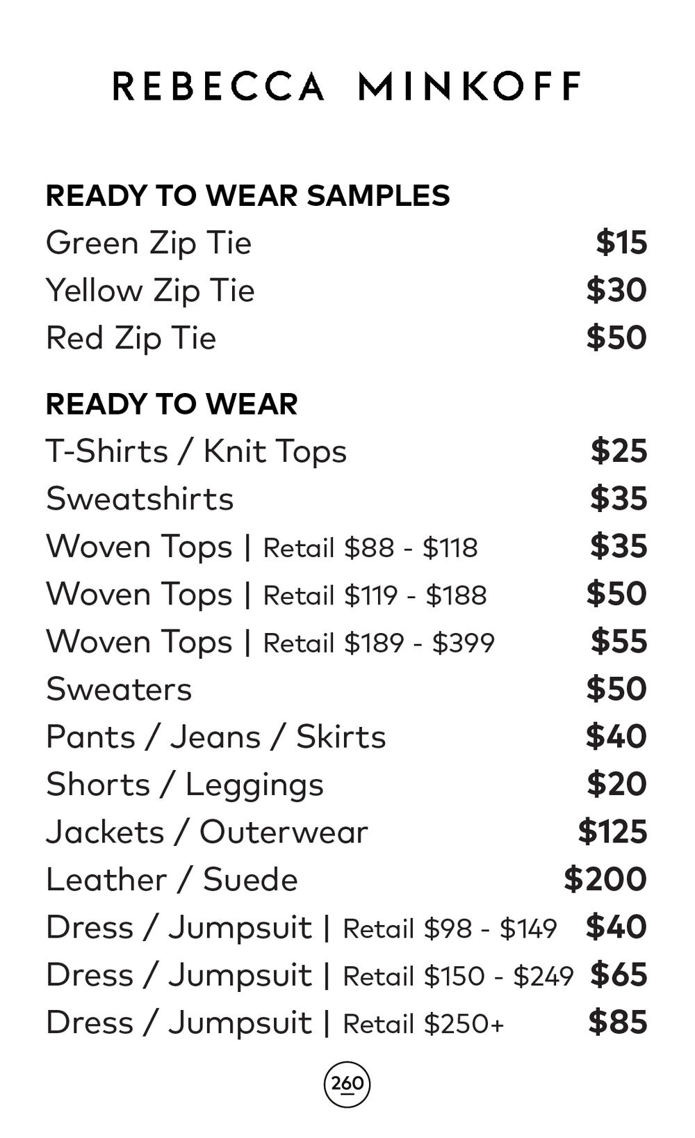 Rebecca Minkoff Sample Sale RTW Price List