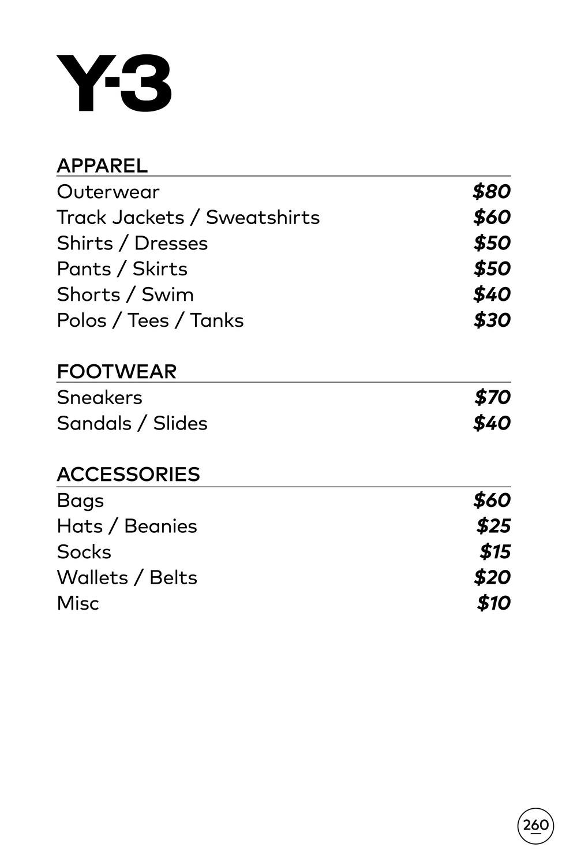 Y-3 Adidas Sample Sale in Images Price List