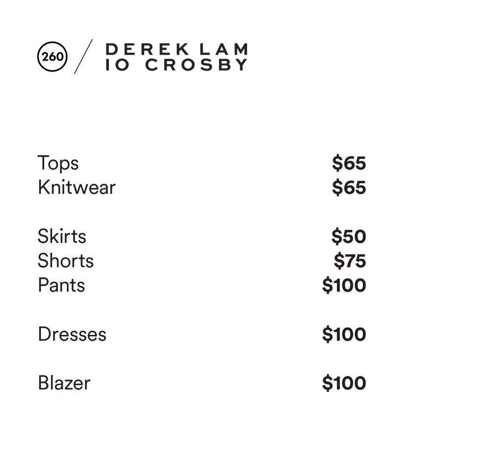 10 Crosby + ATM Sample Sale Price List