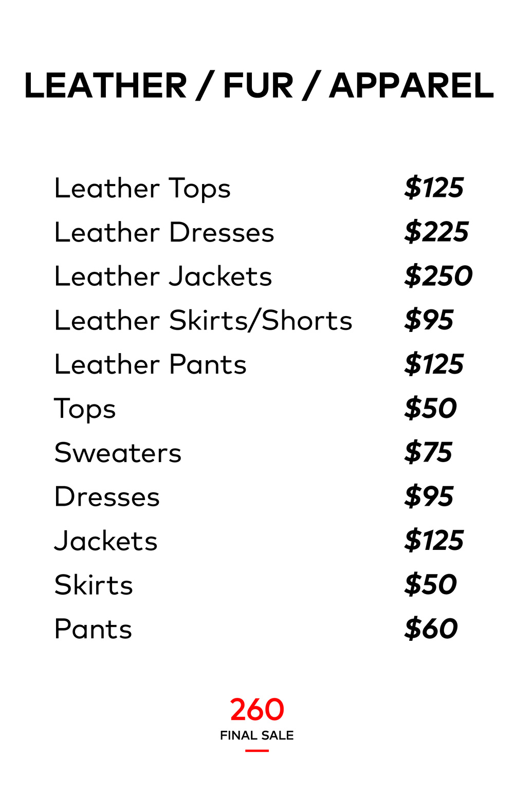 260 Sample Sale Final Sale Price List
