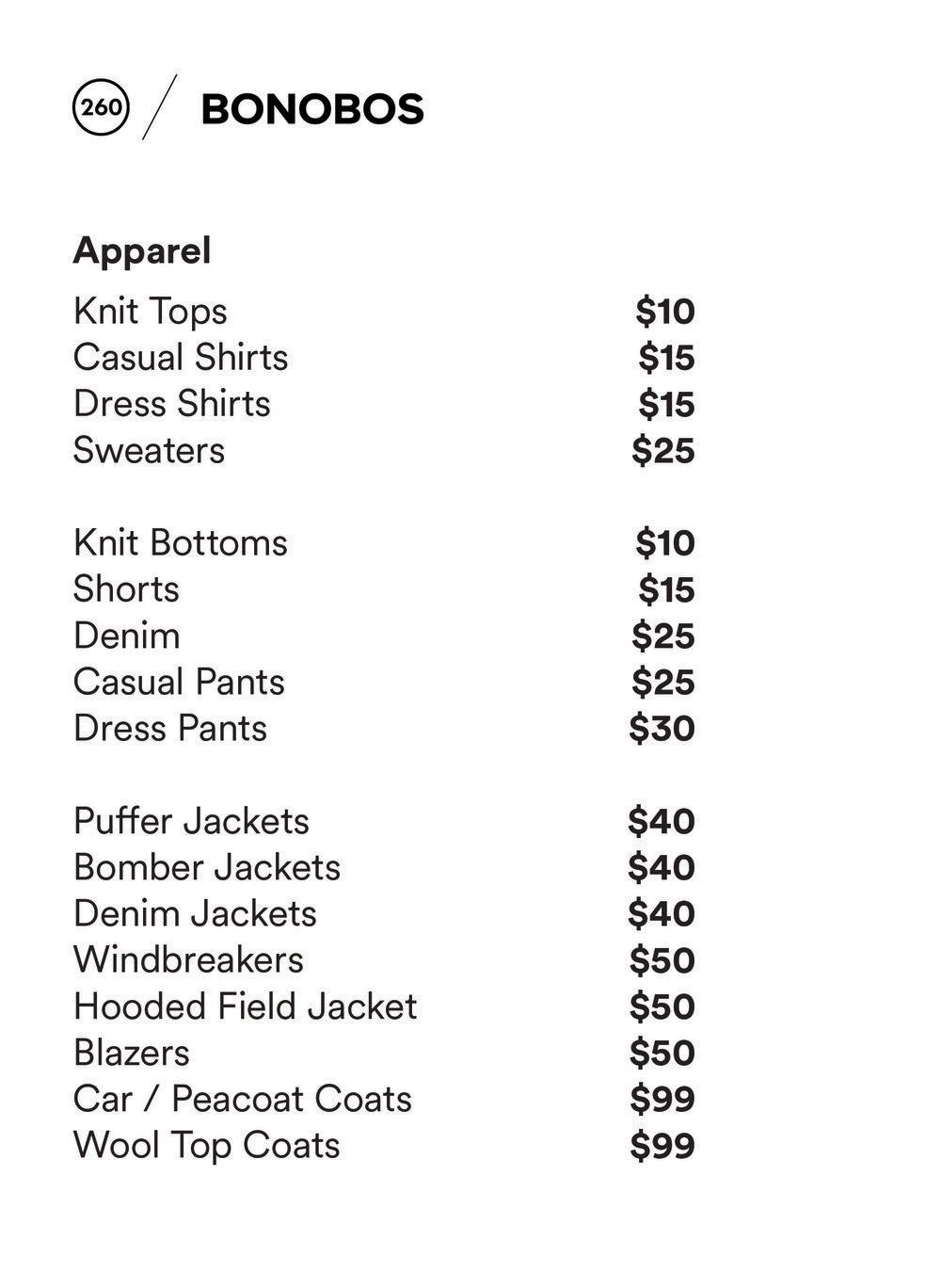 Bonobos Sample Sale Price List