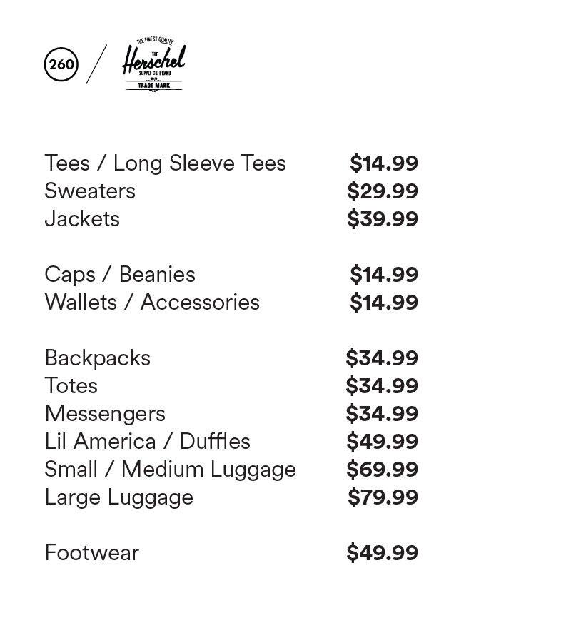 Herschel Sample Sale Price List