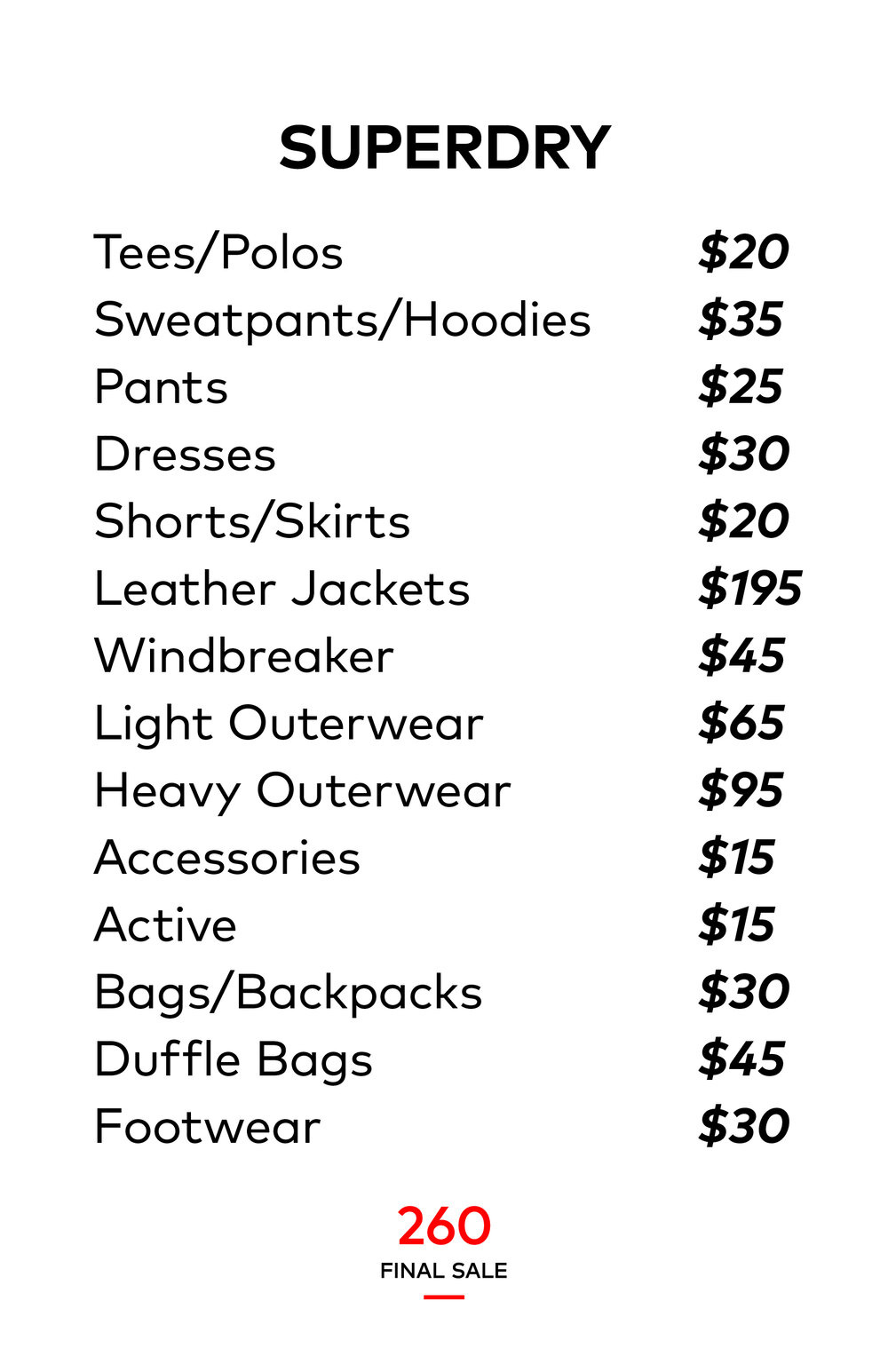 Superdry Sample Sale Price List