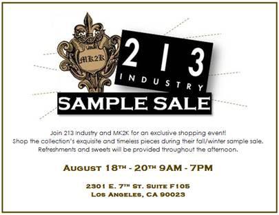 213 Industry & MK2K Sample Sale