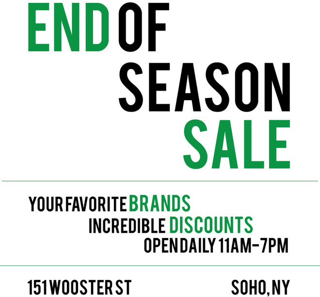 260 Sample Sale End of Season Sale