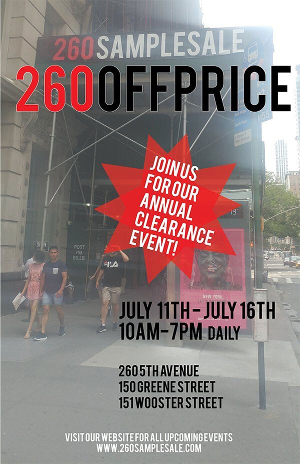 260SampleSale Annual Clearance Sale