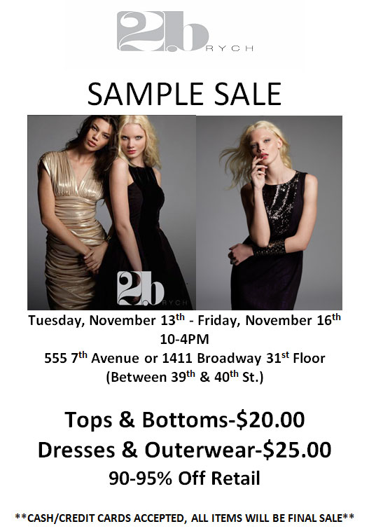 2b Rych Sample Sale