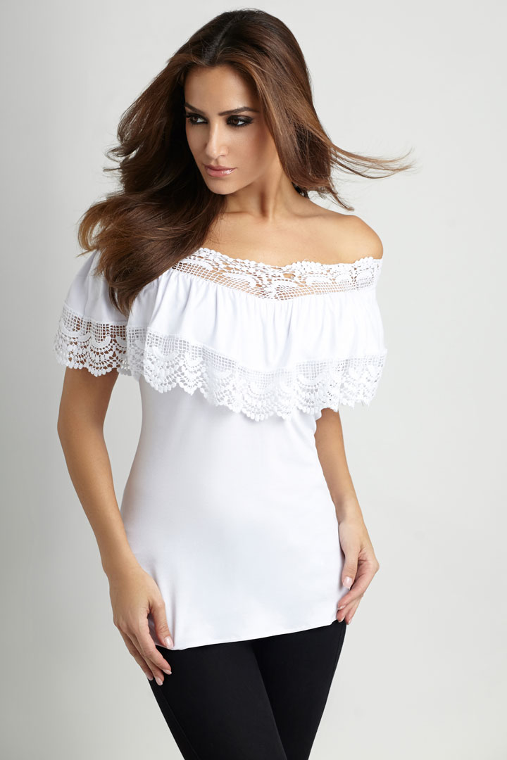 Angel Pleated Crochet-Trim Top: $96 (orig. $148)