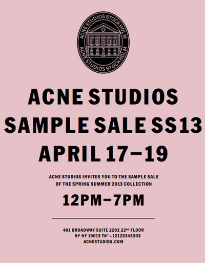 acne studios clothing accessories new york sample sale. Black Bedroom Furniture Sets. Home Design Ideas