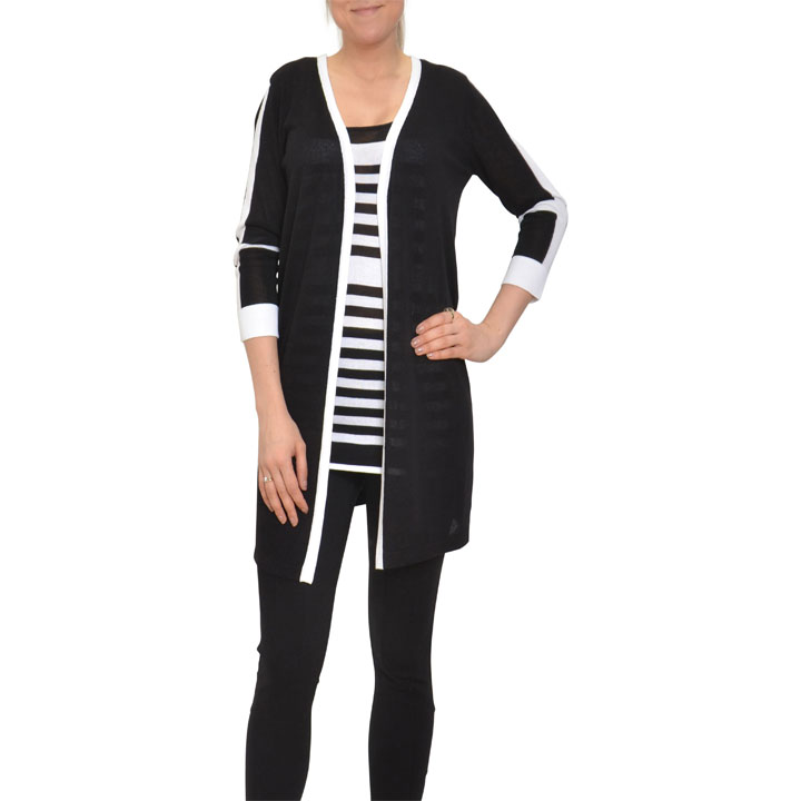 Black and White collection: Cardigans $35, Tanks $25, Lightweight ponchos $30