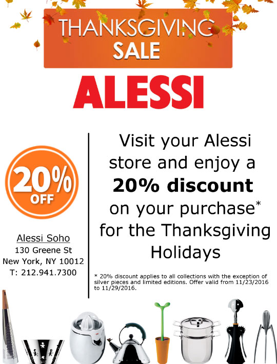 Alessi Thanksgiving Sale