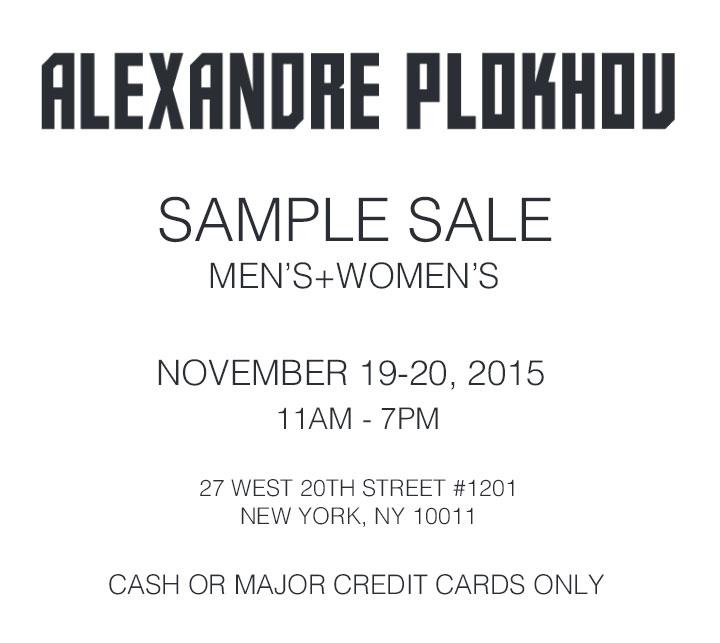 Alexandre Plokhov Sample Sale