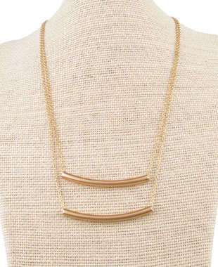 Dainty gold tone double tube pendant chain: $12 (retail price $60)