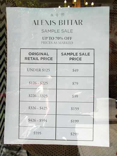 Alexis Bittar Sample Sale Price List