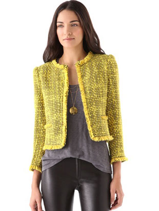 Alice + Olivia Celeste Collarless Trim Jacket in yellow and blue ($149, orig. $495, S)