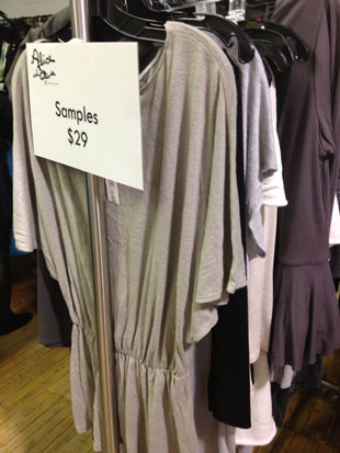 One rack of $29 samples featured soft and casual basic tops and bottoms
