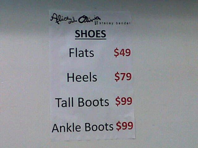 Alice + Olivia Sample Sale Shoes price list