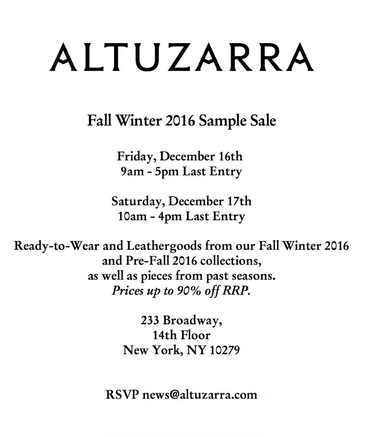 Altuzarra Fall Winter 2016 Sample Sale